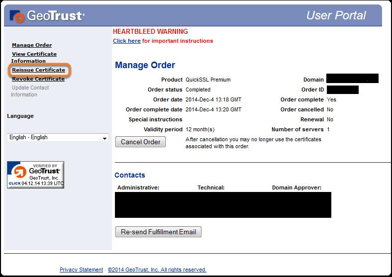 Riemissione certificato SSL